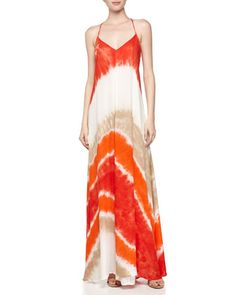 Tie-Dye Voile Maxi Dress, Fire Macaw Wash by Young Fabulous and Broke at Neiman Marcus Last Call.