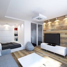 Design of a one-room apartment: 20 photos of ideas Navy Living Rooms, Eclectic Living Room, Condo Living, Living Room Designs, One Room Apartment, Apartment Interior, Apartment Design, Studio Apartment Decorating, Small Apartments