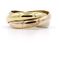 186ada1d6a2d Authentic Cartier Trinity Ring Size 6 Tri-Color 18k Gold 3mm Bands B4084900