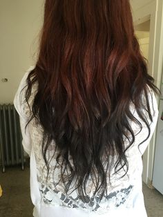 Reverse ombré- red to black reverse ombre hair, black hair ombre, red Reverse Ombre Hair, Reverse Balayage, Black Hair Ombre, Ombre Hair Color, Hair Colour, Very Easy Hairstyles, Natural Red Hair, Hair Growth Treatment, Hair Loss Women