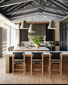 """Carrie Delany Interiors on Instagram: """"Let's play """"what's your favorite detail?"""" I'm wavering between the ceiling and the lighting. And the counter stools. And the hood. Ok, I…"""" Kitchen Dining, Dining Room, Counter Stools, Home Furnishings, Your Favorite, Ceiling, Indoor, House Design, Table"""