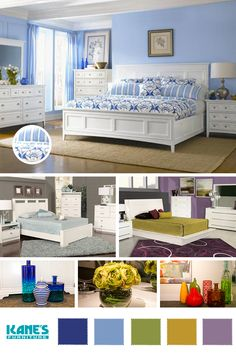Add a touch of spring to your home with bedroom sets in floral patterns accented by bright white.