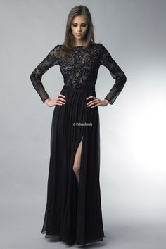 Basix Black Label Long Beaded Black Dress With Slit
