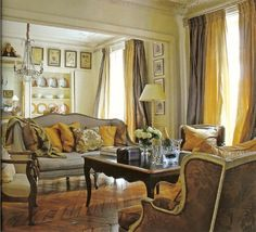 Myra Hoefer Designed Paris Apartment   Gilded Chest, Gray Matted Prints,  Silver Candle Sticks, Yellow And Cream Silk Taffeta Drapery With Bleached U2026