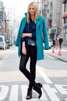 J Brand leather pants, Zara shirt (similar here), Carl Kapp coat (similar here), Chanel bag, Chloe boots, ring from Istanbul Spice Market