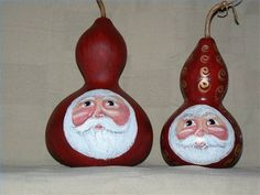 Google images of patterns to paint on  gourds | Santas painted on birdhouse gourds