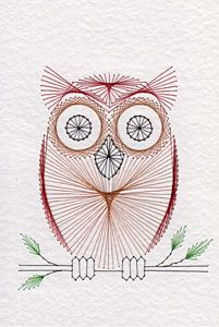 Owl on a branch pattern at Stitching Cards