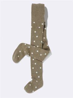 Mädchen-Strumpfhose mit Sternen GRAU/STERNE IN MARINE+TAUPE/STERNE IN ECRU