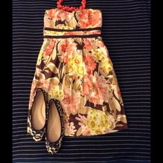 Strapless Floral Dress Fit & Flare Empire Sz 5
