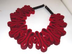 Red Felt Necklace, Boho, Felt Jewelry, Bib, Eco Recycled, Felt Bead Necklace, Eco Felt, Collar, Fashion Jewelry, Felted