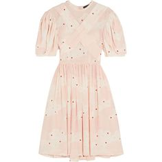 Simone Rocha Printed silk mini dress (46,065 THB) ❤ liked on Polyvore featuring dresses, simone rocha, pink, платья, convertible wrap dress, pink summer dresses, floral summer dresses, long-sleeve mini dress and silk kimono