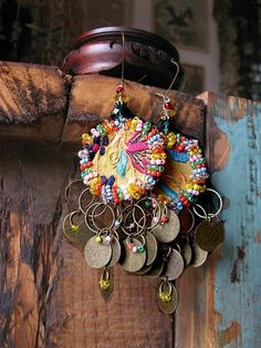 Soul Shaker Earrings, Antique Embroidered, Beaded, Coin Dangles, Rainbow, Bohemian Gypsy