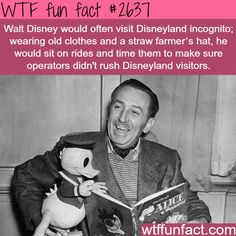 Walt Disney visited Disneyland Incognito to make sure operators weren't rushing visitors - WTF fun facts Walt Disney Facts, Disney Memes, Disney Quotes, Cool Disney Facts, Disneyland Secrets, Disney Secrets, Wtf Fun Facts, Funny Facts, Crazy Facts