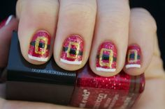 Santa Nails - I have a variation of this on my big toe, but couldn't get a good picture of it.