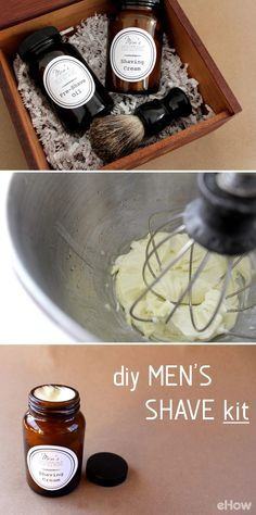 Perfect homemade gift for your husband, boyfriend, bother, son or guy friend! A DIY men's shaving kit that has all the essentials (and all made with ingredients in your own pantry like coconut oil)! Customize the kit with our FREE printable lables here: http://www.ehow.com/how_12343201_diy-mens-shave-kit.html?utm_source=pinterest.com&utm_medium=referral&utm_content=freestyle&utm_campaign=fanpage