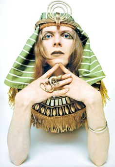 "Ziggy Stardust as ""The Sphinx"" shot by Brian Ward and custome by Freddie Burretti, for the Arnold Corns project, 1969. #pharaoh #bowie #ziggy"