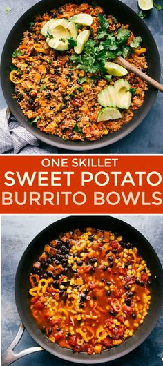 A dinner made in just one skillet - sweet potato burrito bowls. A mouth-watering vegetarian meal with sweet potatoes, rice, sweet peppers, and black beans. Vegetarian Sweet Potato Recipes, Vegetarian Burrito, Vegan Burrito Bowls, Vegetarian Meal, Healthy Recipes, Sweet Potato Burrito, Mexican Sweet Potatoes, Sweet Potato Rice, Easy Burrito Recipe