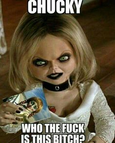 Uh oh. Chucky is busted! Horror Movies Funny, Horror Movie Characters, Scary Movies, Scary Funny, Creepy, Hilarious, Funny Kids, Bride Of Chucky, Horror Pictures