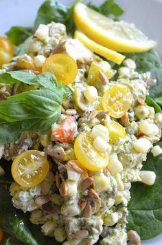 #chickensalad #mariaprovenzano #recipe #food #nomayo #healthy #lemonbasilpesto