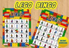 LEGO BINGO Lego Superhero and Lego by Decorarteleonparty on Etsy