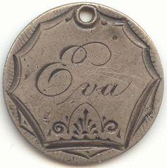 1875 Seated Liberty Dime Love Token, Name Eva.....Lovely!