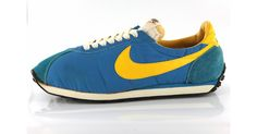 Sporting Chances - Pair of blue and yellow Nike waffle trainers - Wellcome Collection