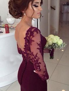 501 Burgundy Satin Mermaid Prom Dress,Long Evening Dress,Lace Prom Dress ,Charming Prom Dress
