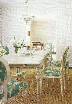 Laura Ashley ikat+gorgeous dining room table