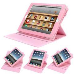 Evecase® Pink Book-Form 360-Degree Rotating Folio PU Leather Stand Case for Apple iPad 3 / iPad 4 / The new iPad / iPad 2 (Automatically Wakes and Puts the iPad to Sleep)