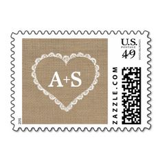 Burlap and Lace Heart monogram initials wedding Stamp