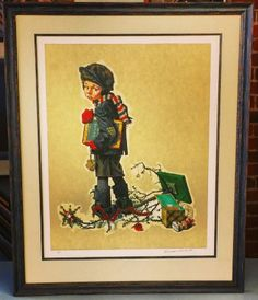 """Little Boy Holding A Chalkboard"" by Norman Rockwell. This signed and numbered Limited Edition is framed in @Larson-Juhl's Brittany line with rag mat, fillet, and conservation glass. Bring your precious original art to a trusted frame shop that specializes in fine art framing! Custom framed by FastFrame of LoDo. #art #framing #denver #colorado #rockwell #normanrockwell"