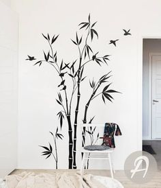 Bamboo Tree Forest Wall Decal Large nursery wall decal Bamboo Stalks Wall sticker Wall Decor Removable tree decal Wall decor art - Wall decal / Nursery / Kid room / Livingroom / Home - Wall Painting Decor, Tree Wall Decor, House Painting, Wall Art Decor, Wall Murals, Painting Walls, Bamboo Wall, Bamboo Tree, Wall Decor Stickers