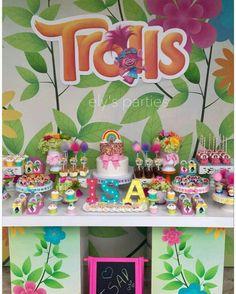 Trolls pastel rainbow birthday party ideas