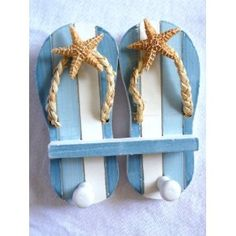 "Wood Double Sandal Wall Hook with Resin Starfish Accent - 7"" X 6.5"" - New by Florida Gifts"