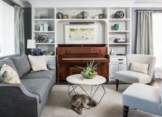 Home Decorating Style 2019 for Small Living Room Design With Piano, you can see Small Living Room Design With Piano and more pictures for Home Interior Designing 2019 4940 at Amazing Home Decor. Piano Living Rooms, Living Room Shelves, Formal Living Rooms, My Living Room, Living Room Furniture, Living Room Decor, Modern Living, Small Living Room Design, Family Room Design