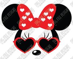 Cool Minnie Mouse Heart Sunglasses Cut File Set in SVG, EPS, DXF, JPEG, and PNG