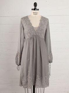 Loving this feminine grey dress by Johnny Was.