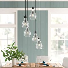Birch Lane: Farmhouse & Traditional Furniture - Made to Last Island Pendants, Glass Pendants, Kitchen Pendants, Layout Design, Design Ideas, Cluster Lights, Metal Canopy, Pendant Lighting, Light Pendant