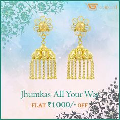 Swarnika Jhumka Gold Earring of Gobekart for your stylish avatar. Style up like never before! Go to http://bit.ly/2eCK4Ps  and buy it now. Explore Globekart's gold and diamond jewelleries with fabulous designs.    http://bit.ly/1oiMSWy  #JhumkasAllWay #GoldJewellery #Diamond #Jewellery #BeJewelled #Globekart