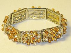 Vintage Gold Topaz Rhinestone and Moonglow Stretch Panel