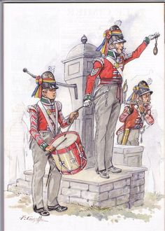 British; Line Infantry Recruiting Party c.1812 by P.Courcelle