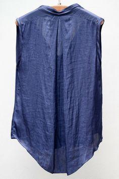 Dark Blue Liquid Satin Sleeveless Blouse | Heist