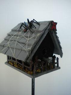 Gothic Haunted House Miniature Birdhouse Plant Stake by RaggioArt, $45.00