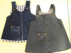 ReDo Jeans: Vanhat farkut pikkutytön liivihameeksi Jumpers made from old jeans. Sewing Doll Clothes, Girl Doll Clothes, Diy Vetement, Denim Ideas, American Girl Clothes, Recycled Denim, Little Girl Dresses, Baby Sewing, Baby Dress