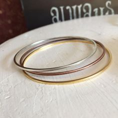 Bangle Bracelet, mixed metals, stacked bangle, stacking Bangle, Gold Bangle, Silver Bangle, Copper Bangle by RaeLynnJewelry on Etsy
