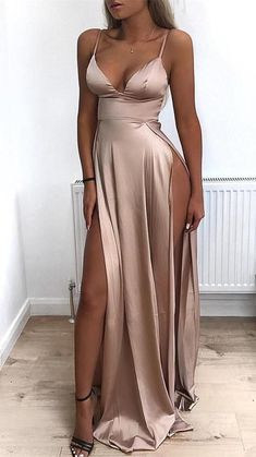 2019 Cheap Spaghetti Straps Side Split Simple Modest Sexy Prom Dresses, Evening dresses · prom dress · Online Store Powered by Storenvy Prom Outfits, Mode Outfits, Sexy Outfits, Dress Outfits, Casual Outfits, Pretty Dresses, Sexy Dresses, Prom Dresses Silk, Long Dresses