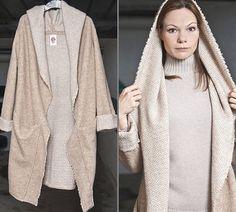 Lange Mantel Tamara Beige  Oversized MantelSweater von RoteTulpe