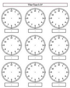 Empty clock worksheet