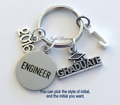Engineer Graduation Gift, Engineer Keychain Gift for Mechanical Civil Industrial Student Grad 2016 Key Chain Keyring Graduate initial letter A personal favorite from my Etsy shop https://www.etsy.com/ca/listing/474722161/engineer-graduation-gift-engineer