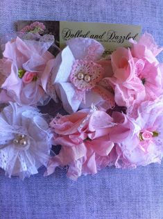 Set of 6, Baby Pink and White/ Shabby Embellishments/ Baby Shower Decor/ Girls Hairclip/ Brooch Pins/ Lampshade or Curtain Flowers/ Bridal